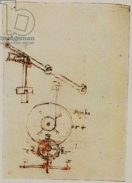 Designs for Making Wheels and Gears, illustration from the Codex Forster II (pencil on paper)