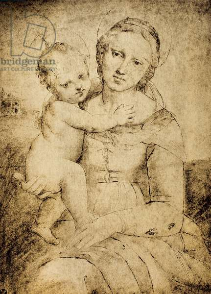 Madonna and Child, drawing from the school of Raphael, Cabinet of Drawings and Prints, Uffizi Gallery, Florence