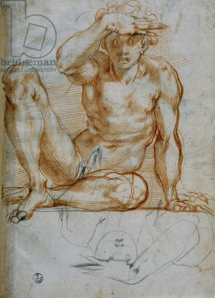 Study of a nude making a shadow with his hand (6599 F), red pencil on paper, Michelangelo Buonarroti (1475-1564), Cabinet of Drawings and Prints, The Uffizi Gallery, Florence