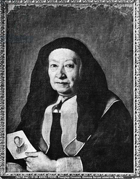 Portrait of Giovanna Garzoni (oil on canvas) (b/w photo)