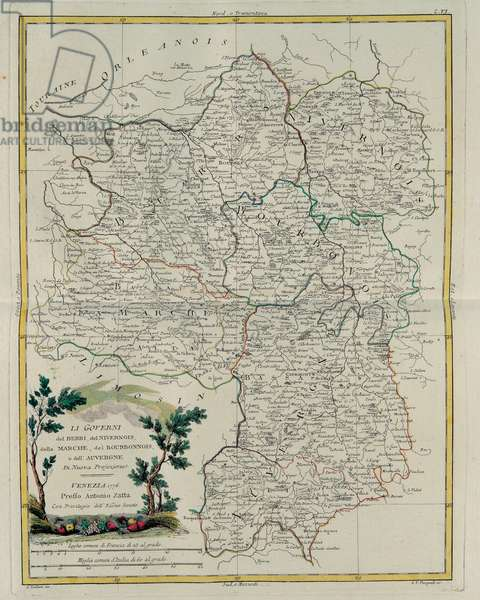 Governances of Berri, Nivernois, Marche, Bourbon and Auvergne, engraving by G. Zuliani taken from Tome I of the
