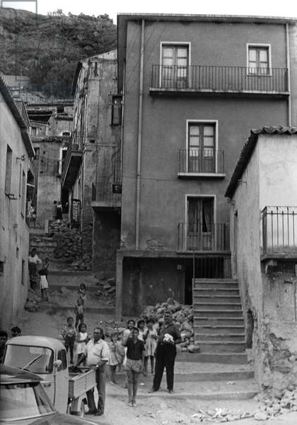 View of the town of San Luca, Calabria, Italy, 1964-65 (b/w photo)