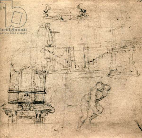 Study for the Medicean tombs; drawing by Michelangelo. Casa Buonarroti, Florence