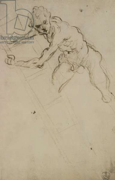 Study of a figure for the Crucifixion (charcoal on paper)