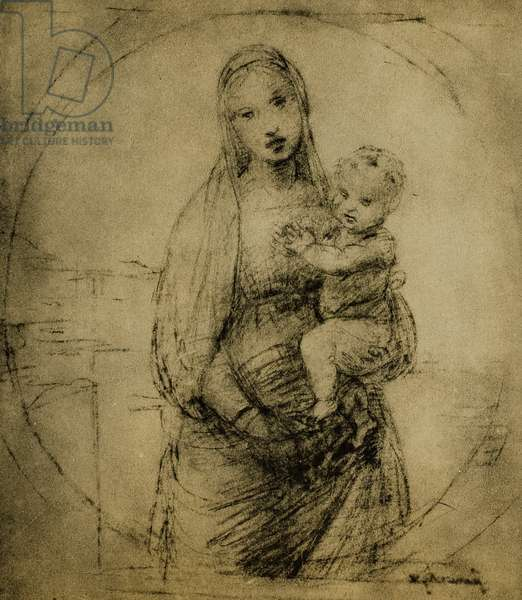 Study for the Madonna of the Grand Duke, drawing by Raphael. Gabinetto dei Disegni e delle Stampe, Uffizi Gallery, Florence