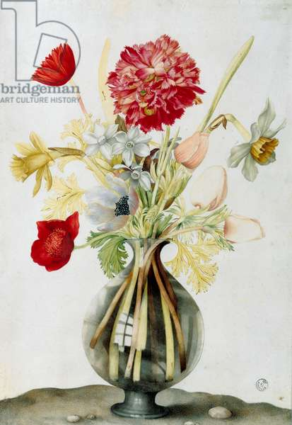 Glass vase with a bunch of flowers (watercolour)