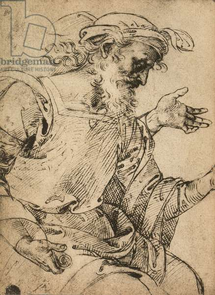 The prophet Ezekiel; drawing by Raphael. Gallerie dell'Accademia, Venice