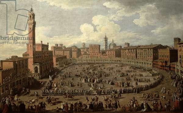 The Palio, Piazza del Campo, Siena (oil on canvas)