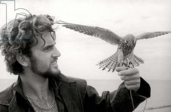 Portrait of Count Bruno Manfredi d'Angrogna Luserna von Staufen with a hawk, 1962 (b/w photo)