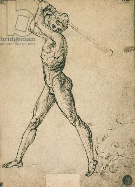 Hercules kills the bull; drawing by Raphael. Gallerie dell'Accademia, Venice
