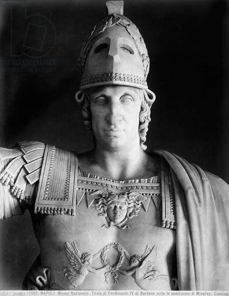 Detail of the statue of Ferdinand IV of Bourbon in the garments of Minerva