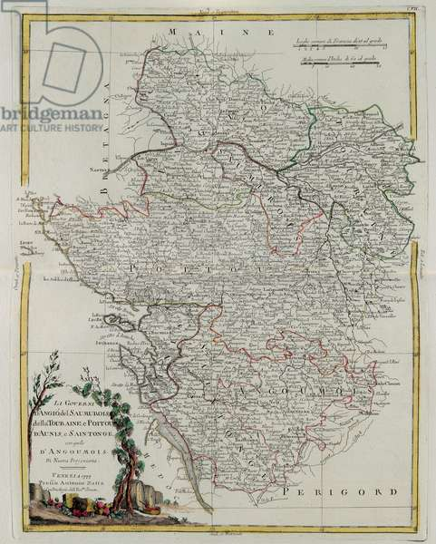 Governances of Anjou, Saumurois, Touraine and Poitou, Aunis and Saintonge with that of Anjoumois, engraving by G. Zuliani taken from Tome I of the
