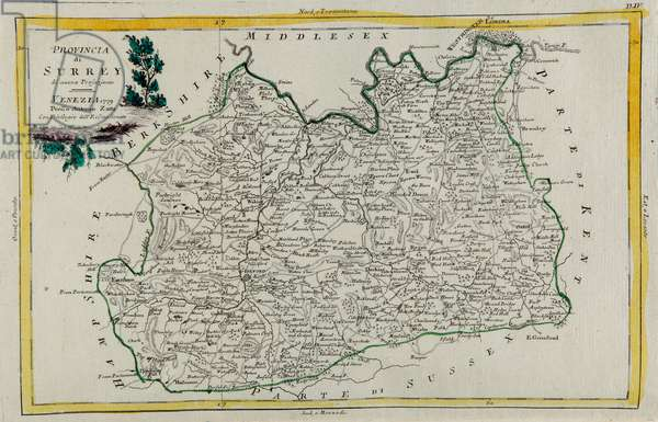 Province of Surrey, engraving by G. Zuliani taken from Tome I of the