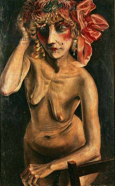 Nude with red hat, painting by Otto Dix, at the Galerie der Stadt in Stuttgart