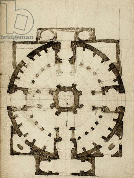 Architectonic project for the plan of a church; drawing by Michelangelo. Casa Buonarroti, Florence
