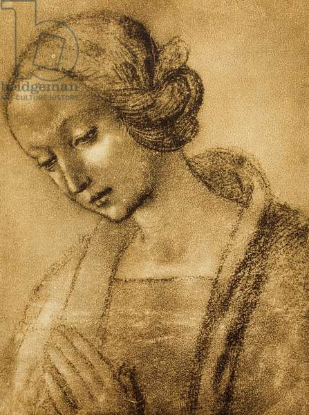 The Virgin, drawing by Raphael. Gabinetto dei Disegni e Stampe, Uffizi Gallery, Florence
