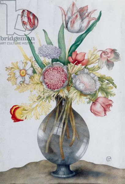 Glass vase with a bunch of flowers (w/c)