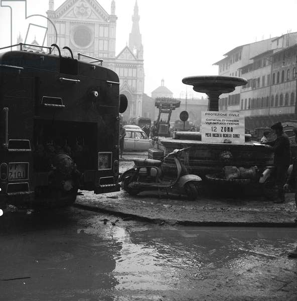 The Piazza Santa Croce after the flood of Florence, November 1966 (b/w photo)