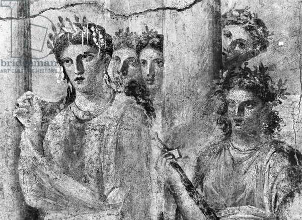 Iphigenia in Tauris, detail, from Pompeii, c.15BC-50AD (see also 242787) (fresco) (b/w photo)