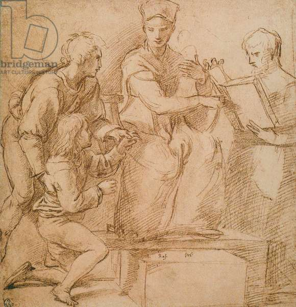 Four Figures (Madonna and Child?), drawing by Raphael. Gabinetto dei Disegni e delle Stampe, Uffizi Gallery, Florence