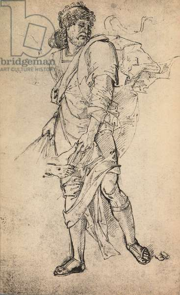 Male figure with mantle; drawing by Raphael. Gallerie dell'Accademia, Venice