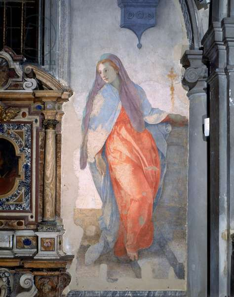 The Annuciation, detail of the Virgin, c.1527 (fresco)