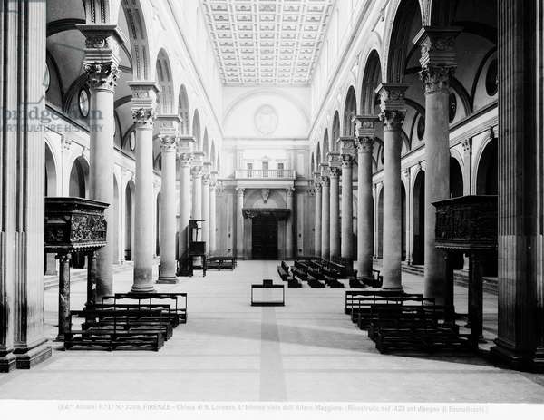 View of the Nave, 1425-46 (b/w photo)