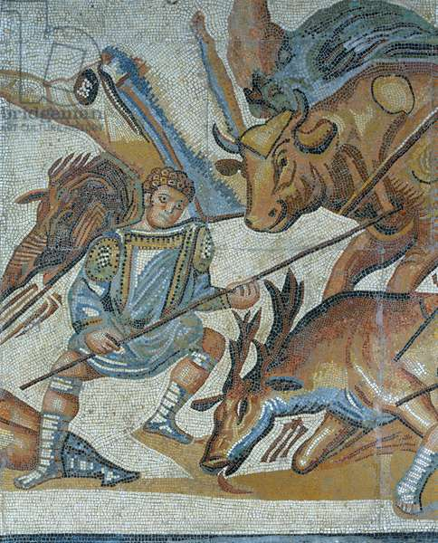 Mosaic showing a scene of a wild beast hunt, detail of a gladiator killing an animal
