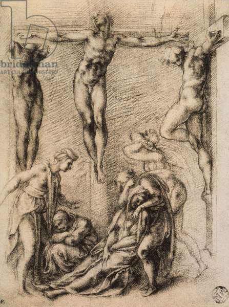 Crucifixion, drawing by Michelangelo. Musee du Louvre, Paris