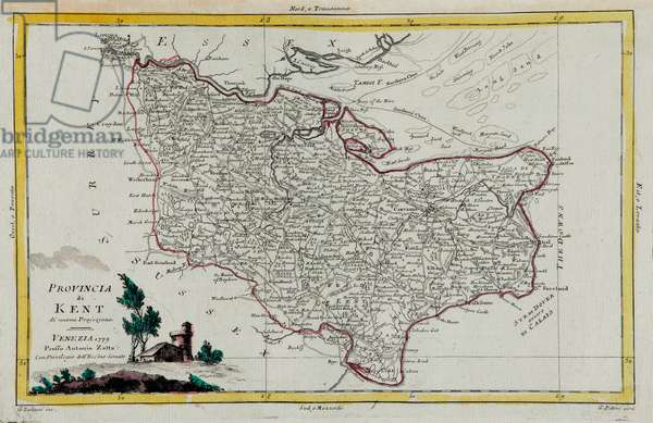 Province of Kent, engraving by G. Zuliani taken from Tome I of the