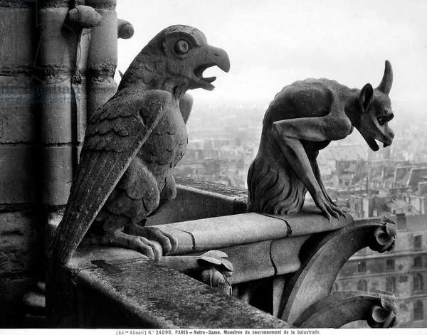 Gargoyles from the balustrade of the Grande Galerie of the west facade, replica of a 12th century original (stone) (b/w photo)