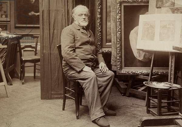 Portrait of a Painter in his Studio (b/w photo)