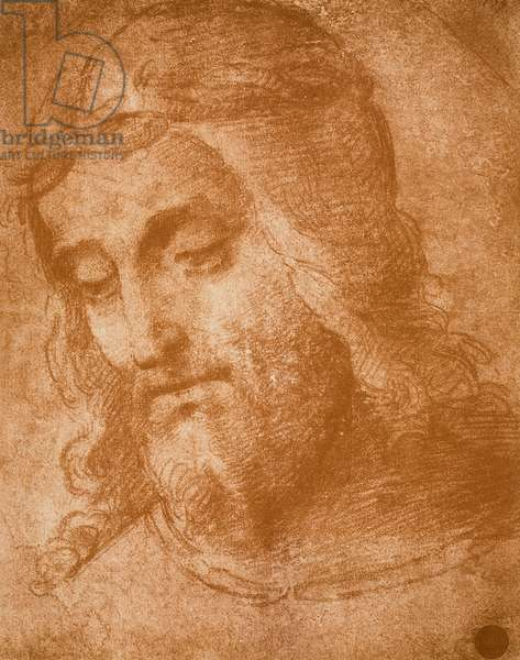 Study for the face of the Redeemer, drawing by Raphael. Gallerie dell'Accademia, Venice