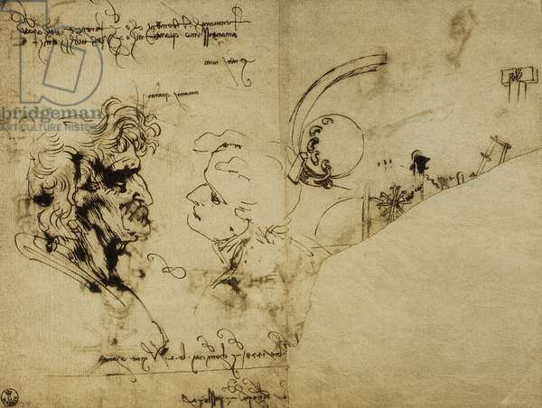 Study of various figures and and old man's head; drawing by Leonardo da Vinci. Gabinetto dei Disegni e delle Stampe, Uffizi Gallery, Florence