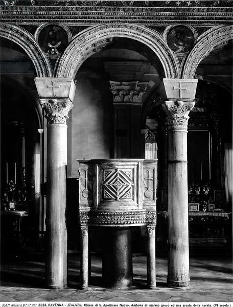 Greek marble ambo located in the interior of the Church of Sant'Apollinare Nuovo, Ravenna.