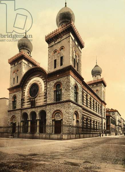 Templo Israelitico, Turin (b/w photo)