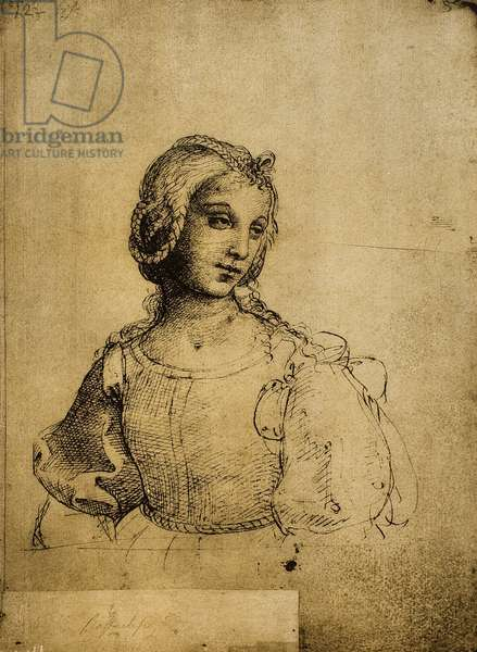 Study of a woman; drawing by Raphael. Gallerie dell'Accademia, Venice