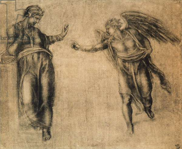 The Annunciation, drawing by Michelangelo. Gabinetto dei Disegni e delle Stampe, Uffizi Gallery, Florence
