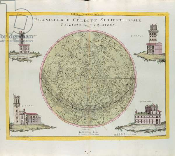 Cosmographic Table of the Northern Celestial Planisphere cut at the equator, engraving by G. Zuliani taken from Tome I of the