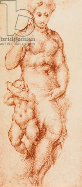 Charity, drawing by Pontormo, formerly attributed to Andrea del Sarto. Gabinetto dei Disegni e delle Stampe, Uffizi Gallery, Florence