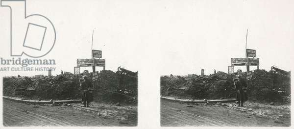 Signs in Moorslede, near Passchendaele during the First World War, Belgium, 29th September, 1918 (b/w photo)