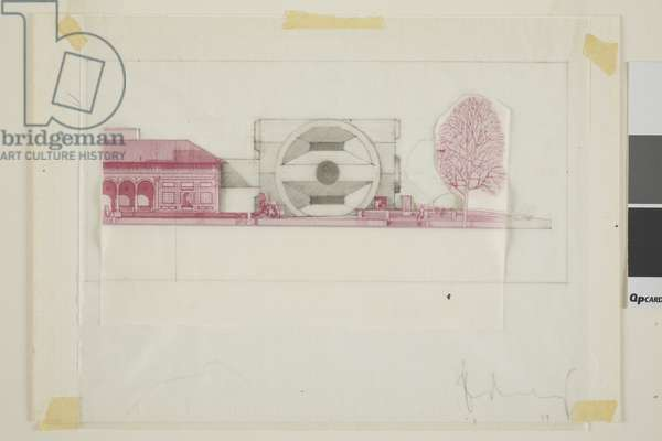 An Alternate Proposal for an Addition to the AMAM, Oberlin, Ohio, 1977 (collage with blueprint and tracing paper)