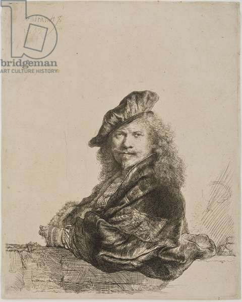 Self portrait leaning on a window sill, 1639 (etching & drypoint)