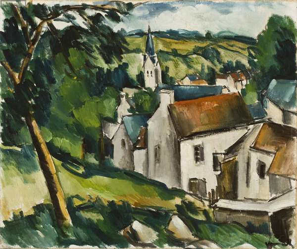 Landscape with a village, 1911-12 (oil on canvas)