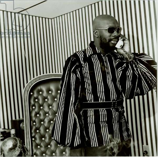 Isaac Hayes in his Stax Office, from the portfolio The Memphis Blues Again, 1970 (gelatin silver print)