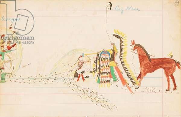 Osages, Big Nose, 1874-75 (pen, ink & w/c on ledger paper)