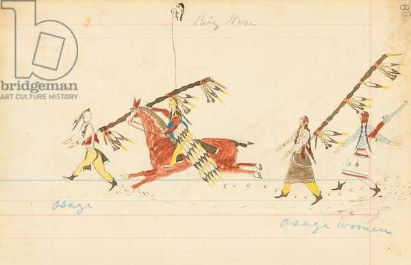 Osage, Big Nose, Osage Women, 1874-75 (pen, ink & w/c on ledger paper)