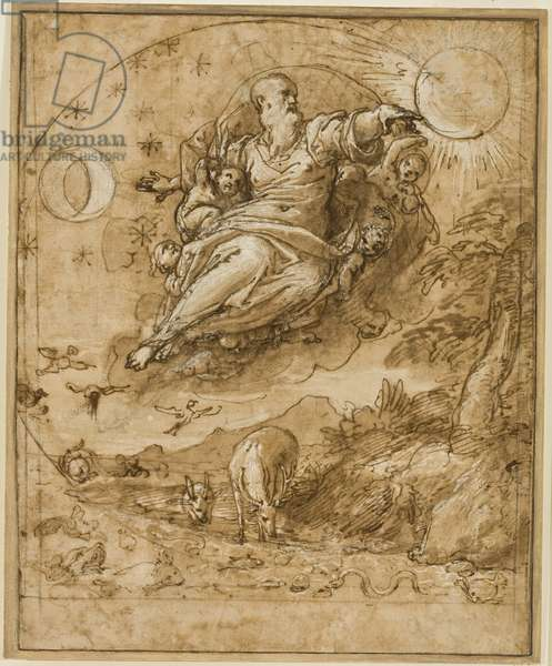 The Lord Creating the Sun and Moon, 1566-69 (pen & ink, chalk, wash and white heightening on paper)