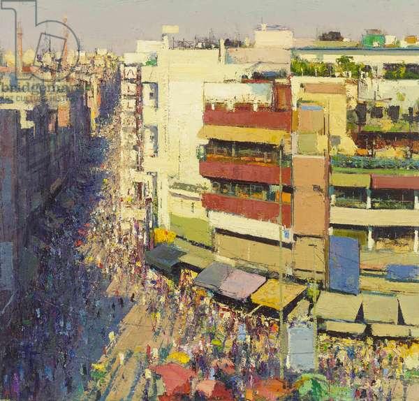 Paharganj Bazaar, Delhi, 2017 (oil on canvas)