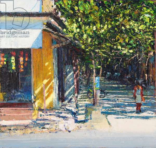 Dappled Street Pondicherry, 2017, (oil on panel)